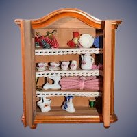 Vintage Reutter Porzellan Wood Doll Miniature Cabinet Filled W/ Accessories For Dollhouse Wardrobe German