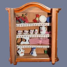 Vintage Reutter Porzellan Wood Doll Miniature Cabinet Filled W/ Accessories For Dollhouse Wardrobe German