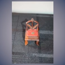Old Doll Fancy Wood Miniature Chair with Tole Painted Seat Dollhouse