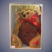 Vintage Teddy Bear MerryThought Red Ribbon Bear in Box W/ Paddington Bear's Suit Case