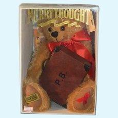 Vintage Teddy Bear MerryThought Red Ribbon Bear in Box W/ Paddington Bear's Suit Case