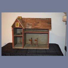 Antique Doll Miniature Wood Litho Dollhouse Barn Needs TLC
