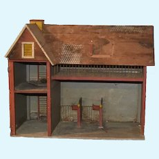 Antique Doll Miniature Wood Litho Dollhouse Barn Needs TLC