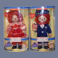 Sweet Raggedy Ann & Andy Porcelain Keepsakes Set In Original Box Adorable