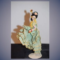 Old Cloth Doll Spanish Dancer Klumpe Character Doll Tagged
