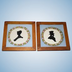 Antique Doll Hand Painted Silhouette Set On Tile Framed Miniature Dollhouse