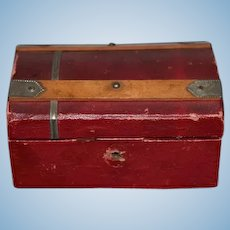 Antique Miniature Doll Trunk Wood W/ Removable Tray and Miniatures Dollhouse Or Fashion Doll
