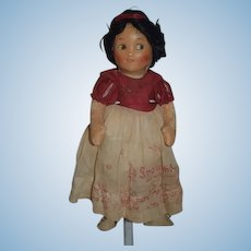 Wonderful  Old Oil Cloth Doll Snow White Doll in Original Clothes Sweet