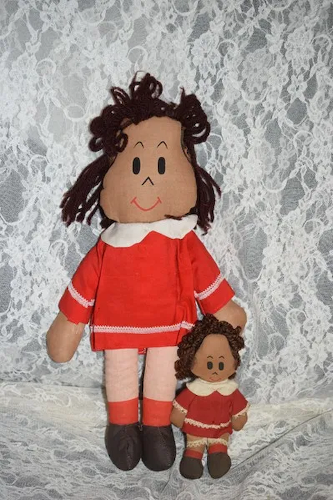 Two Old Little Lulu Cartoon Character Dolls Big And Miniature Cloth Dolls