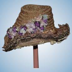 Wonderful Artist French Doll Hat Straw Marked Paris GORGEOUS Bonnet
