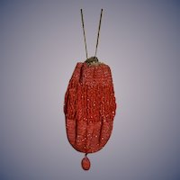 Antique Doll Red Beaded Fringe Draw String Purse W/ Chain Unusual