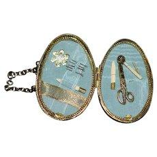 Artist Doll Miniature Egg Purse W/ Accessories Sweet Sewing Kit