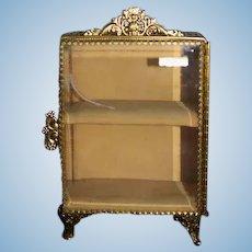 Vintage Doll Gilt Vitrine Miniature Dollhouse Beveled Glass Hinged