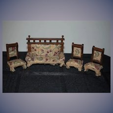 Antique Doll  Miniature Dollhouse Furniture Set Wood Upholstered Sofa & Chairs