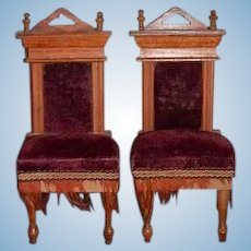 Antique Doll Chairs Dollhouse Wood Upholstered High Backs Fringe