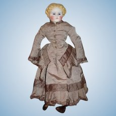 Antique Parian Doll  Glass Eyes Old Original Body W/ Fancy Boots and Dressed
