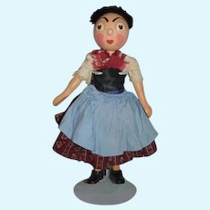 Wonderful Old Unusual Wood Character Doll Jointed