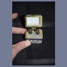 Vintage Doll Miniature Dollhouse Porcelain Hinged Box W/Two Miniature Glass Bottles