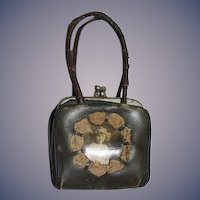 Antique Doll Leather Purse Fancy