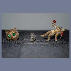 Vintage Hatpins Hatpin Set Cat Art Nouveau and Jester Wonderful