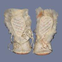Wonderful OldDoll Fur Trimmed Doll Boots Adorable For Larger Doll
