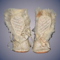 Wonderful OldDoll Fur Trimmed Doll Boots Adorable For Larger Doll