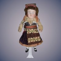 Antique Doll Miniature All Bisque Jointed Original Factory Clothes Dollhouse