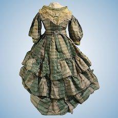 Antique Doll Dress Two Piece Set Skirt Top Fancy Gorgeous Plaid Silk