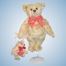 Steiff Teddy Bear TWO BEARS Bear holding Marionette Miniature Teddy Bear Jointed W/ Button Tag
