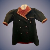 Antique Doll Coat Wool W/ Fancy Cording and Unique old Buttons