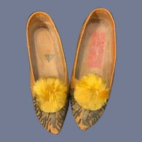 Old Doll Child's Shoes: Leather Fancy Needle Work: Pom Pom's Tassels Unusual