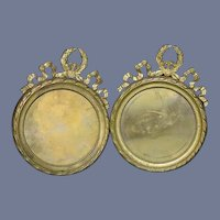 Antique Petite Round Ornate Gilt Bronze Picture Frame Pair Miniature Dollhouse or Fashion Doll Size