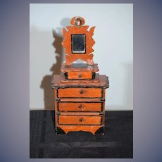 Antique Doll Miniature Chest Wood W/ Accessories Dollhouse by Artist & UFDC