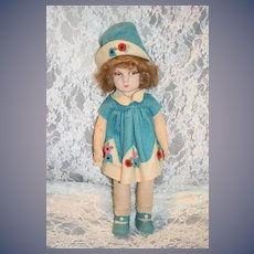 Old Doll Felt Doll Cloth Doll Painted Features Nicely Dressed