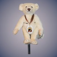 Wonderful Steiff Teddy Bear White Mohair W/ Button Tag and Necklace w/ Booklet Jubilee Bear