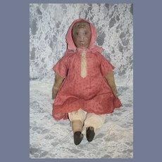 """Antique Oil Cloth Doll Wonderful  Dressed Folk Art Charmer 22"""" Tall"""