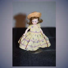 Antique Doll Miniature All Bisque Swivel Head Dollhouse