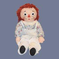Vintage Raggedy Ann Doll Cloth Rag Doll Large Button Eyes