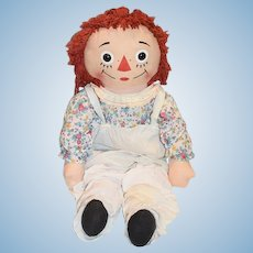 Vintage Raggedy Ann Doll Cloth Rag Doll Large Button Eyes