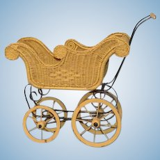 "Vintage Doll Carriage Pram Wicker Petite Size 20"" Tall Sweet"