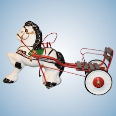 Old Doll Horse Pulling Carriage For Dolls Sweet Sulky MOBO Peddle Toy 1940's