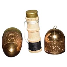 Vintage German Miniature Sewing Case W/ Thimble Spools of Thread Egg Shaped For Chatelaine Doll