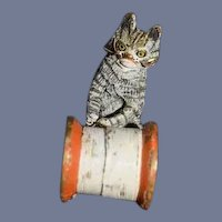 Old Miniature Cat Playing W/ Thimble Cold Painted Bronze Doll house Adorable
