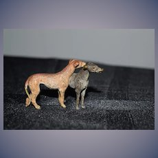 Old Doll Miniature Cold Painted Bronze Dogs Dog Set Miniature Dollhouse Greyhound