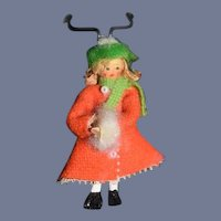 Vintage Etolia Stone Carved Wood Doll Hand Painted Miniature Dollhouse 1976