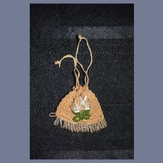 Old Doll Miniature Doll Crochet and Beaded Purse Sweet For Petite Doll