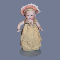 Antique Doll All Bisque Jointed Baby Character Glass Eyes Jointed: