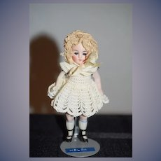 Antique Doll Miniature All Bisque Glass Eyes Jointed Dollhouse