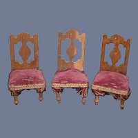 Old Doll Miniature Dollhouse Chairs Upholstered w/ Fringe Sweet