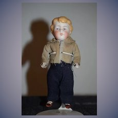 Antique Doll ALL Bisque Boy Jointed Dollhouse Miniature